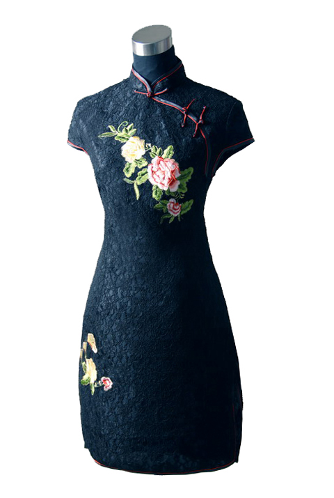 7Fairy Women's Mandarin Black Embroidered Peony Chinese Mini Dress Cheongsam Qipao