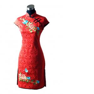 7Fairy Women's Mandarin Red Embroidered Peony Chinese Mini Dress Cheongsam Qipao