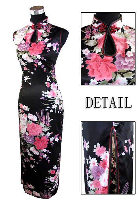 7Fairy Women's Black Classic Peony Chinese Maxi Dress Cheongsam Qipao Silky Keyhole