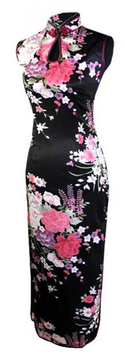 7Fairy_Womens_Black_Classic_Peony_Chinese_Maxi_Dress_Cheongsam_Qipao_Silky_Keyhole