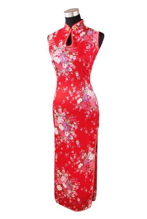 7Fairy Women's Red Classic Peony Chinese Maxi Dress Cheongsam Qipao Silky Keyhole