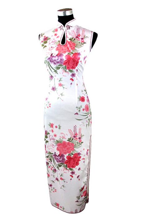 7Fairy Women's White Classic Peony Chinese Maxi Dress Cheongsam Qipao Silky Keyhole