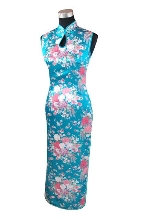 7Fairy Women's Turquoise Classic Peony Chinese Maxi Dress Cheongsam Qipao Silky Keyhole