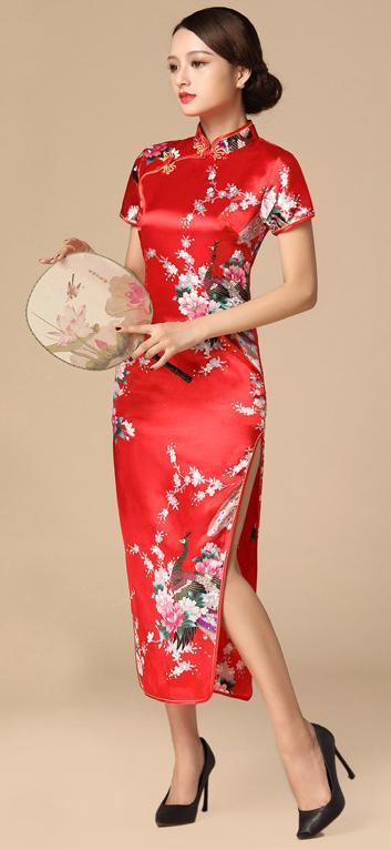 7Fairy ladies Classic Red Peacock Chinese Long Dress Cheongsam Qipao Silky