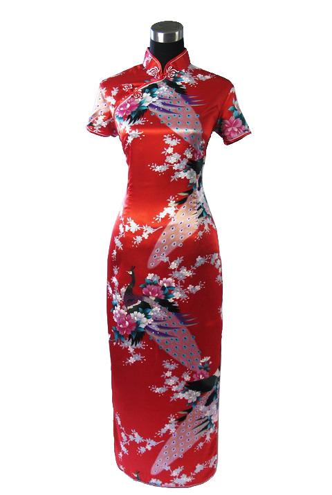 7Fairy ladies Red Classic Peacock Chinese Long Dress Cheongsam Qipao Silky