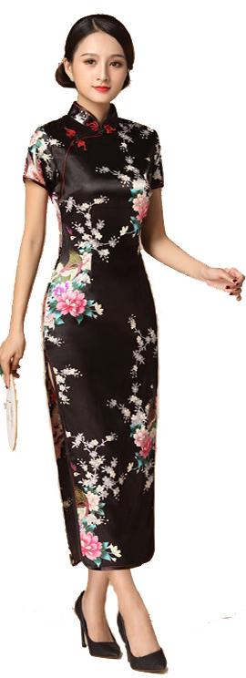 7Fairy ladies Classic Peacock Black Chinese Long Dress Cheongsam Qipao Silky