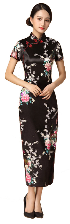 7Fairy ladies Black Classic Peacock Chinese Long Dress Cheongsam Qipao Silky