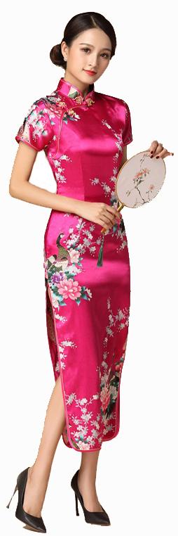 7Fairy ladies Classic Peacock Rose Red Chinese Long Dress Cheongsam Qipao Silky