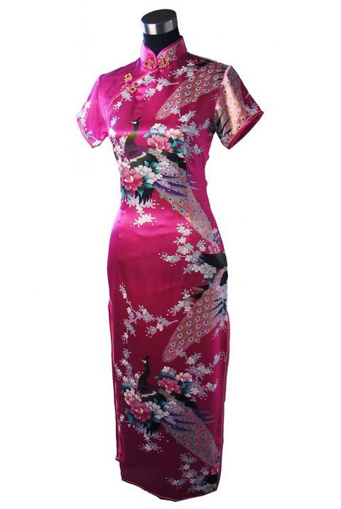 7Fairy ladies Classic Rose Red Peacock Chinese Long Dress Cheongsam Qipao Silky