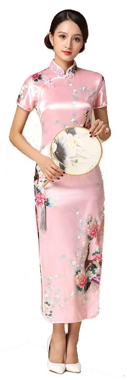 7Fairy ladies Classic Pink Peacock Chinese Long Dress Cheongsam Qipao Silky