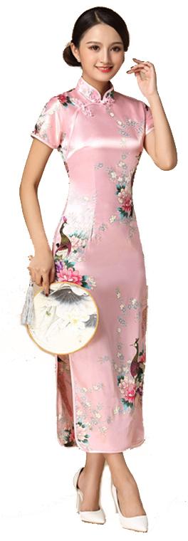 7Fairy ladies Classic Peacock Rose Pink Chinese Long Dress Cheongsam Qipao Silky