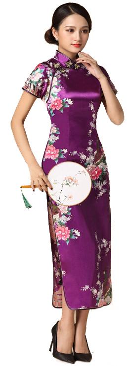 7Fairy ladies Classic Peacock Rose Purple Chinese Long Dress Cheongsam Qipao Silky