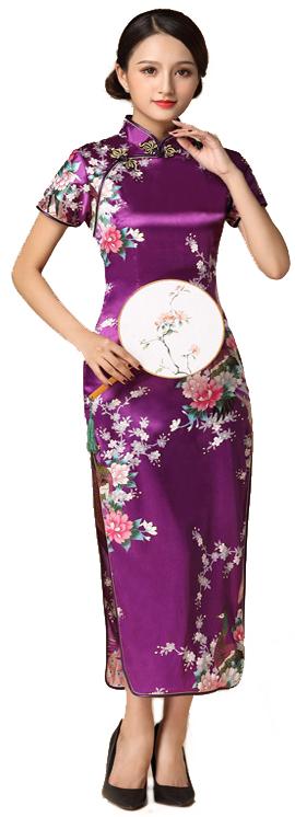 7Fairy ladies Classic Peacock Rose Burgendy Chinese Long Dress Cheongsam Qipao Silky