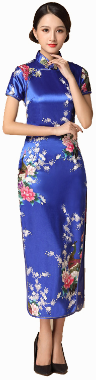 7Fairy ladies Classic Navy Blue Peacock Chinese Long Dress Cheongsam Qipao Silky