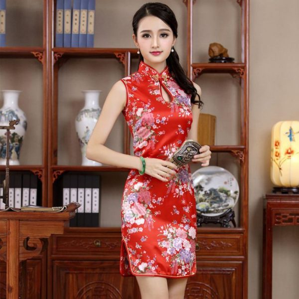 7Fairy Women's Classic Red Flowers Chinese Short Dress Cheongsam Qipao Silky Keyhole