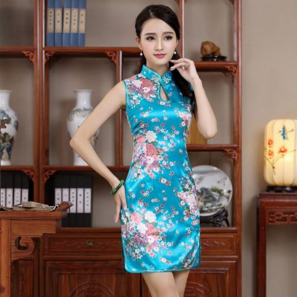 7Fairy Women's Classic Turquoise Flowers Chinese Short Dress Cheongsam Qipao Silky Keyhole
