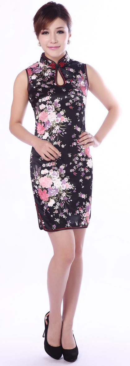 7Fairy Women's Classic Flowers Black Chinese Mini Dress Cheongsam Qipao Silky Keyhole