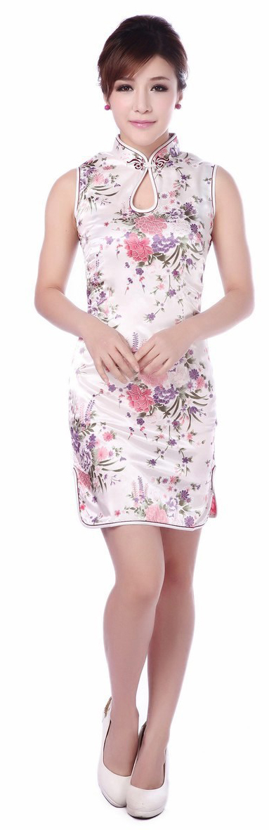 7Fairy Women's Classic Flowers White Chinese Mini Dress Cheongsam Qipao Silky Keyhole