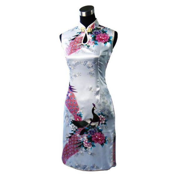 7Fairy Women's Classic White Peacock Chinese Short Dress Cheongsam Qipao Silky Keyhole