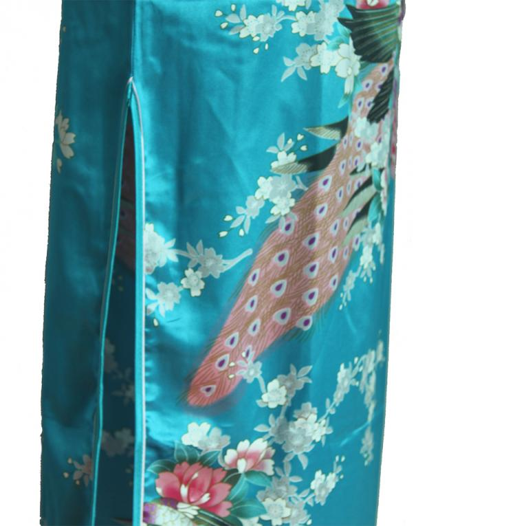 7Fairy Women's Classic Turquoise Peacock Chinese Short Dress Cheongsam Qipao Silky Keyhole