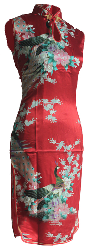 7Fairy Women's Classic Red Peacock Chinese Short Dress Cheongsam Qipao Silky Keyhole