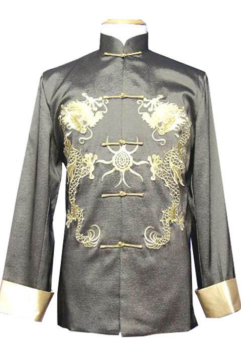7Fairy Men's Green Silk Traditional Dragon Embroidered Chinese Gong Fu Jacket Long Sleeve