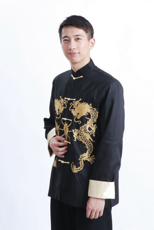 7Fairy Men's Black Silk Traditional Dragon Embroidered Chinese Gong Fu Jacket Long Sleeve