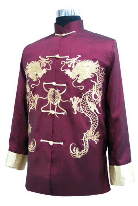 7Fairy Men's Burdundy Silk Traditional Dragon Embroidered Chinese Gong Fu Jacket Long Sleeve