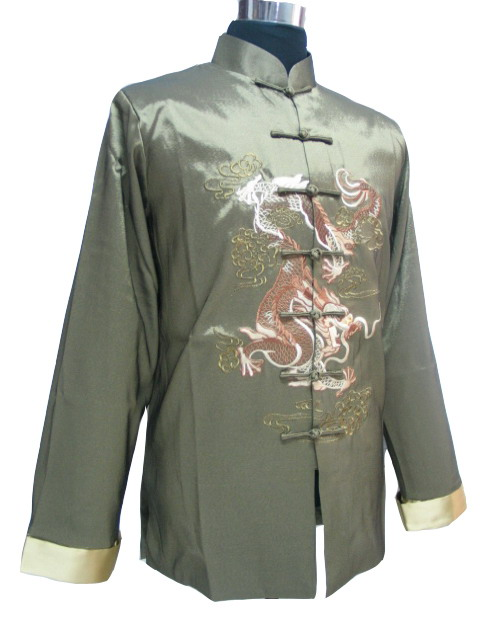 7Fairy Men's Silk Green mandarin Dragon Embroidered Chinese Martial Arts Jacket Long Sleeve