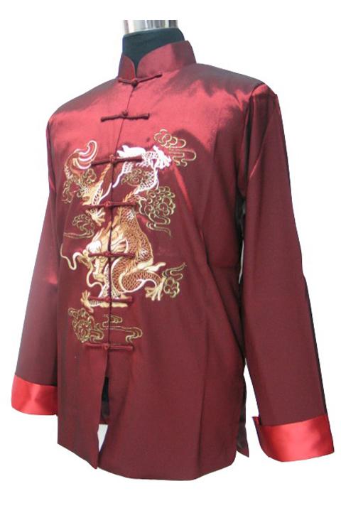 7Fairy Men's Silk Burdundy mandarin Dragon Embroidered Chinese Martial Arts Jacket Long Sleeve