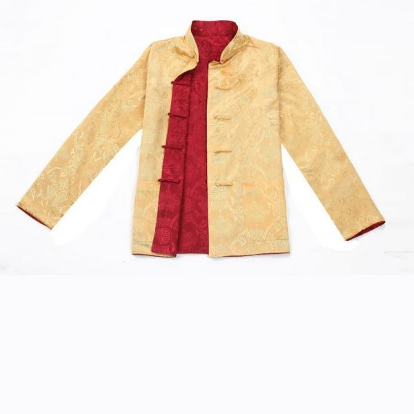 7Fairy Men's Gold Burgundy Reversible Propitious Silk Chinese Gong Fu Jacket Long Sleeve