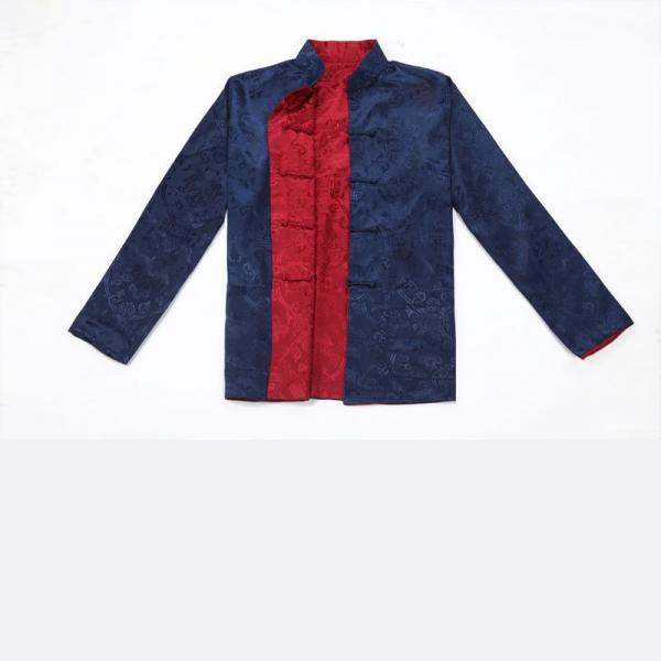 7Fairy Men's Blue Burgundy Reversible Propitious Silk Chinese Gong Fu Jacket Long Sleeve