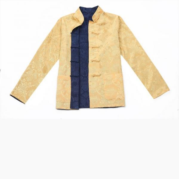 7Fairy Men's Gold Blue Reversible Propitious Silk Chinese Gong Fu Jacket Long Sleeve
