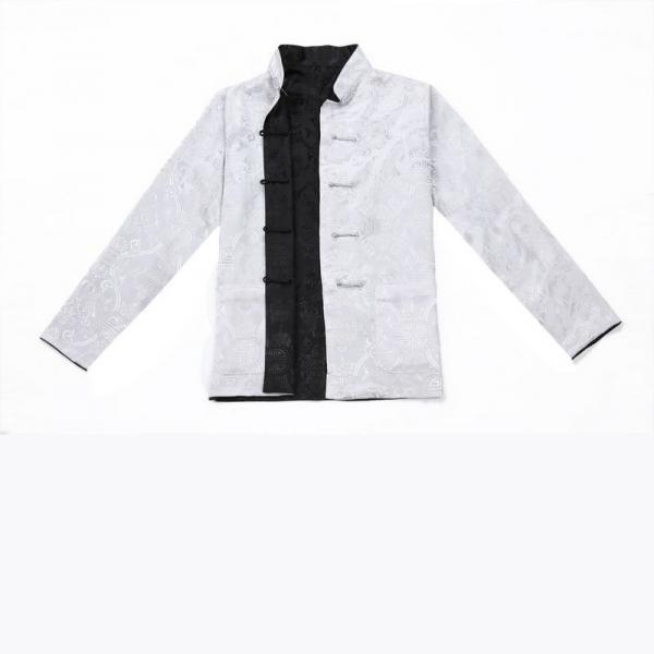 7Fairy Men's Gray Black Reversible Propitious Silk Chinese Gong Fu Jacket Long Sleeve