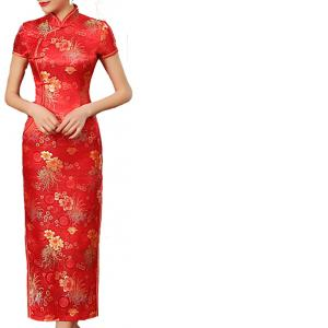 7Fairy Women's Traditional Chrysanthemum Chinese Maxi Dress Cheongsam Qipao Red