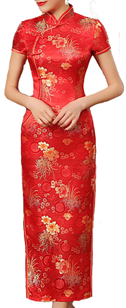7Fairy Women's Traditional Chrysanthemum Chinese Maxi Dress Cheongsam Qipao Red