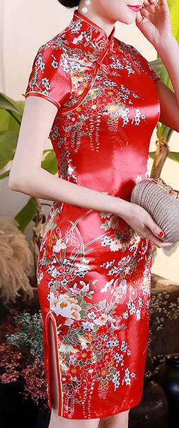 7Fairy Women's Traditional Silky Red Peony Chinese Mini Dress Cheongsam Qipao