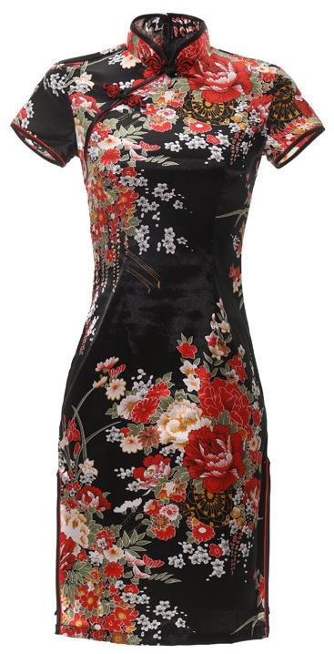 7Fairy Women's Traditional Silky Black Peony Chinese Mini Dress Cheongsam Qipao