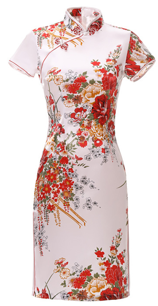 7Fairy Women's Traditional Silky Peony Chinese Mini Dress Cheongsam Qipao White