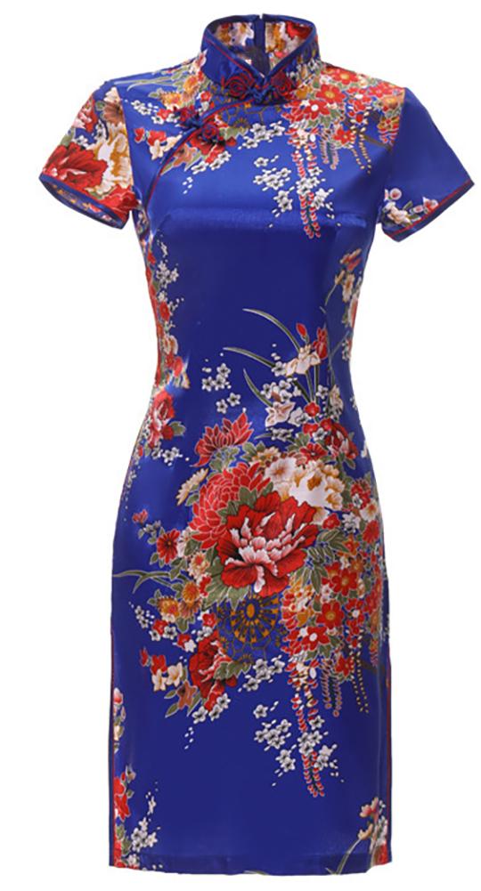 7Fairy Women's Traditional Silky Peony Chinese Mini Dress Cheongsam Qipao BLue
