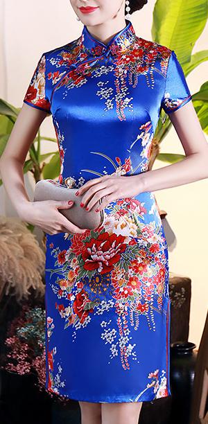 7Fairy Women's Traditional Silky Navy Blue Peony Chinese Mini Dress Cheongsam Qipao