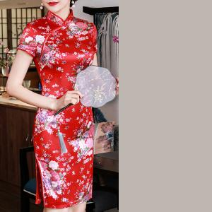 7Fairy Women's Traditional Silky Red Flowers Chinese Mini Dress Cheongsam Qipao
