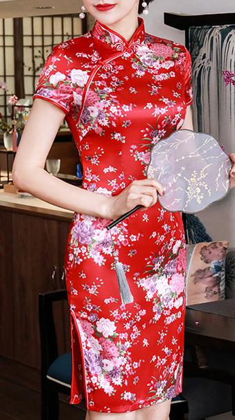 7Fairy Women's Traditional Silky Red Flowers Chinese Mini Dress Cheongsam Qipao