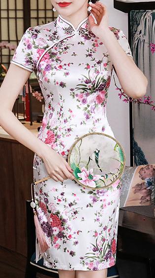 7Fairy Women's Traditional Silky White Flowers Chinese Mini Dress Cheongsam Qipao