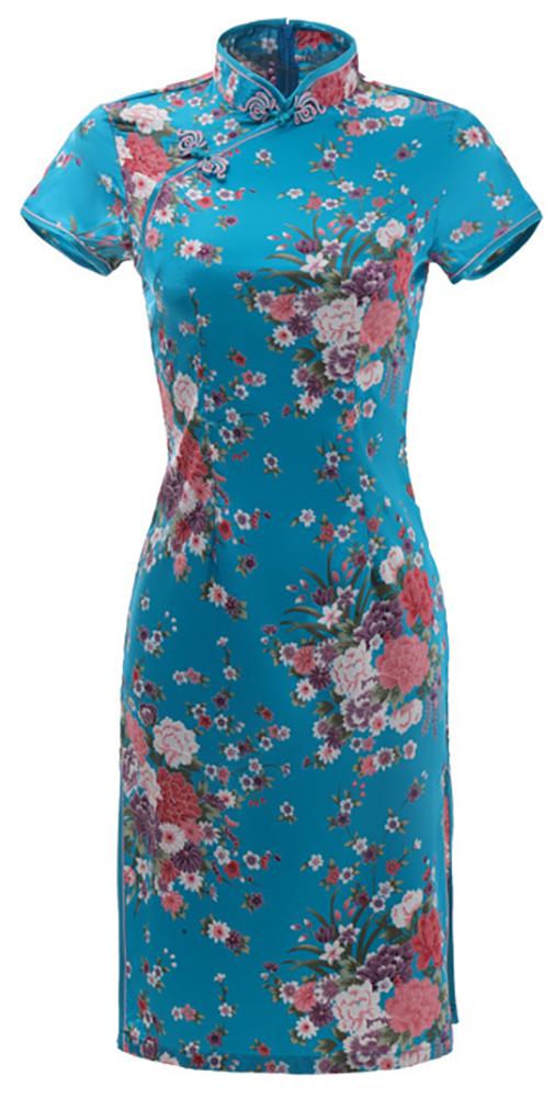 7Fairy Women's Traditional Silky Flowers Chinese Mini Dress Cheongsam Qipao