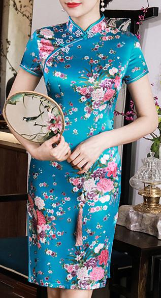 7Fairy Women's Traditional Silky Turquoise Flowers Chinese Mini Dress Cheongsam Qipao