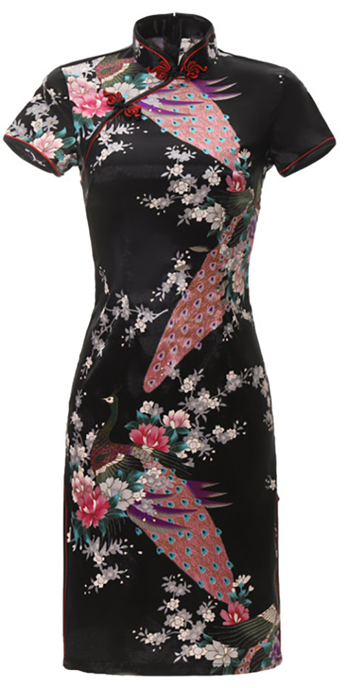7Fairy Women's Traditional Silky Peacock Chinese Mini Dress Cheongsam Qipao Black