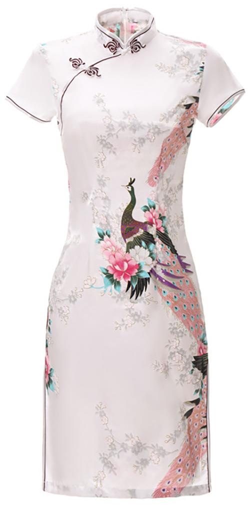 7Fairy Women's Traditional Silky Peacock Chinese Mini Dress Cheongsam Qipao White