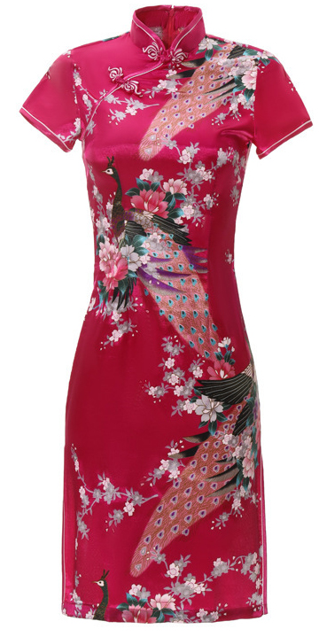7Fairy Women's Traditional Silky Rose Red Peacock Chinese Mini Dress Cheongsam Qipao