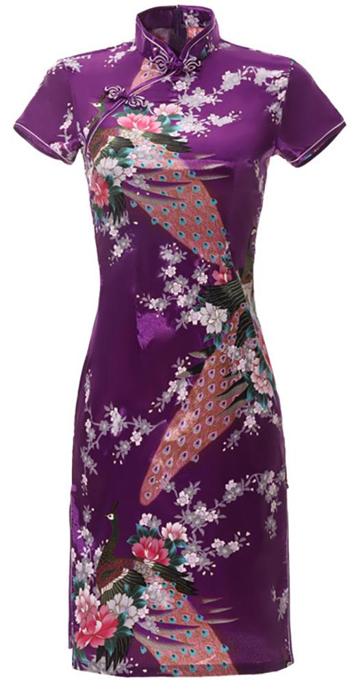 7Fairy Women's Traditional Silky Peacock Chinese Mini Dress Cheongsam Qipao Purple